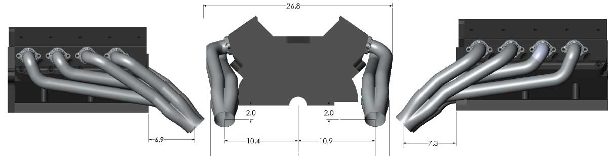 Ford Windsor Swap Header Dimensions
